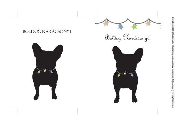 Francia bulldogos karácsonyi képeslap